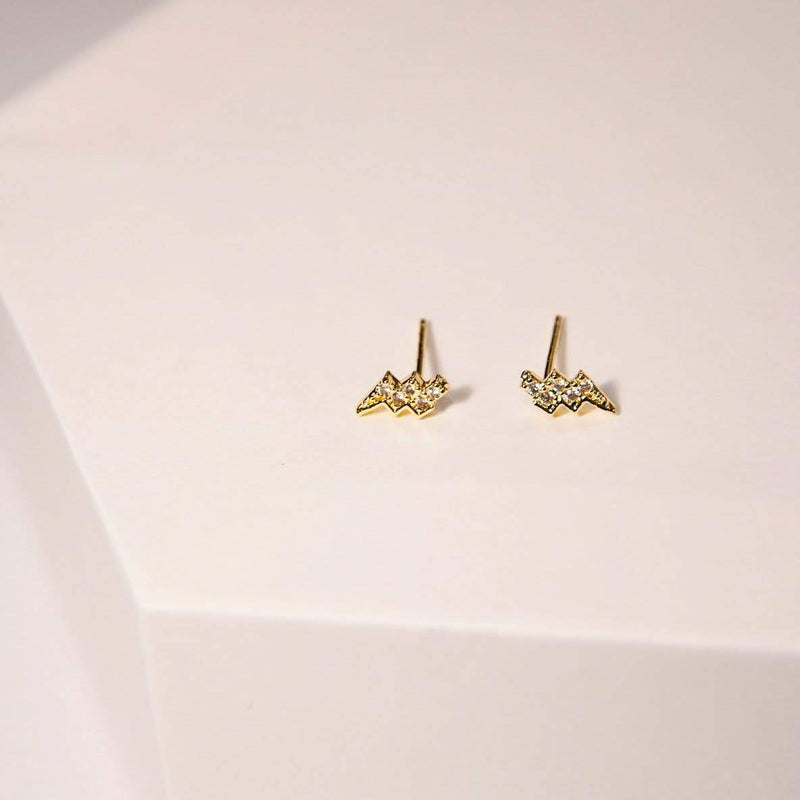 Earrings LIGHTING BOLZ PAVE STUDS - GOLD VERMEIL Moi Accessories