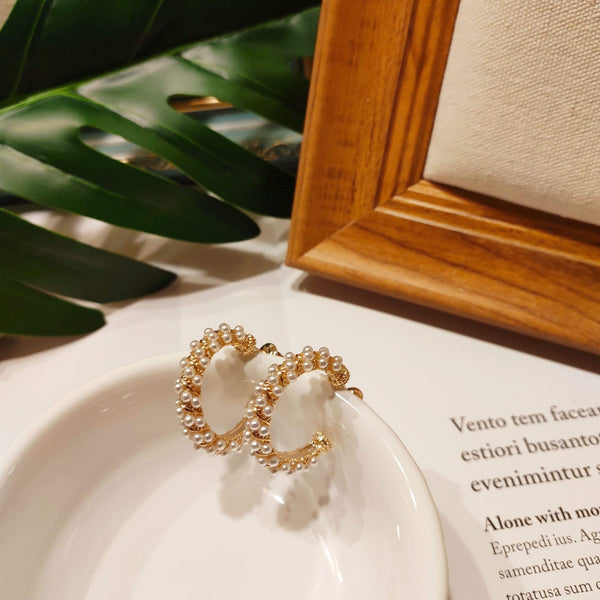 Earrings MARINA PEARL HOOPS Moi Accessories