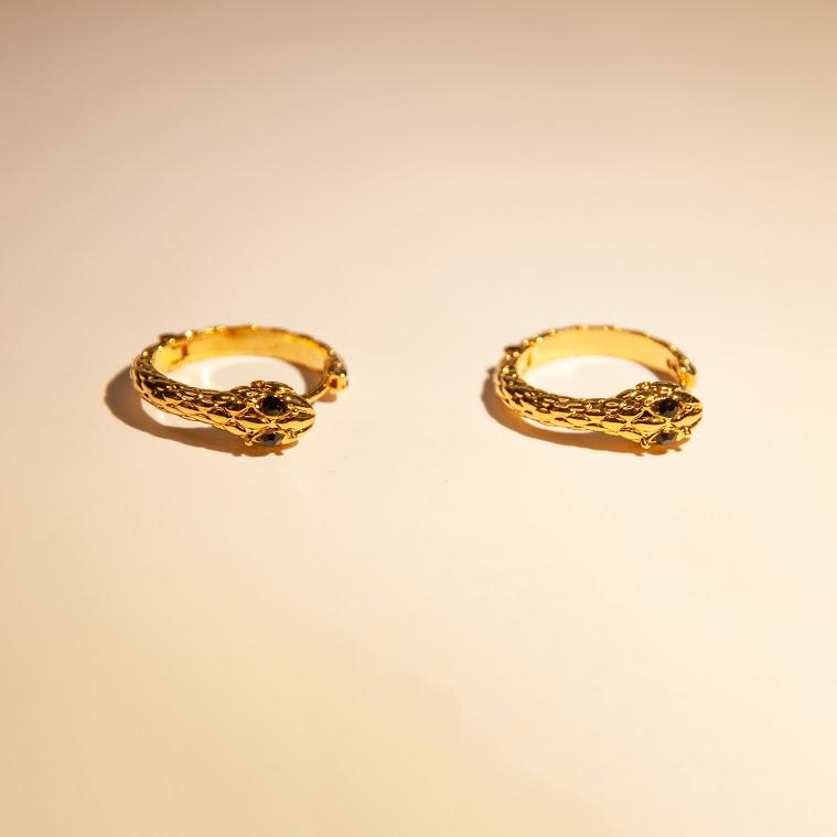 Earrings Snake Gold Mini Hoops 18K Gold-Plated Vega Snake Mini Hoops - 14K Gold-Plated Moi Accessories