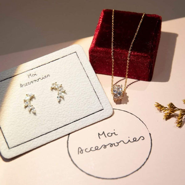 gift set Gold and Diamond Earrings and Necklace Gift Set Angel Gift Set - Pave Diamond Jewelry Gift Set Moi Accessories