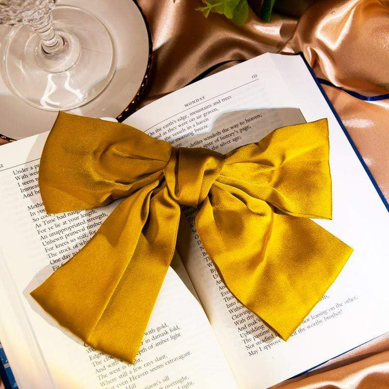 Hair Accessories Satin Silk Oversize French Barrette Bow for Women Hair Eloise Satin Silk Oversize French Barrette Bow Moi Accessories