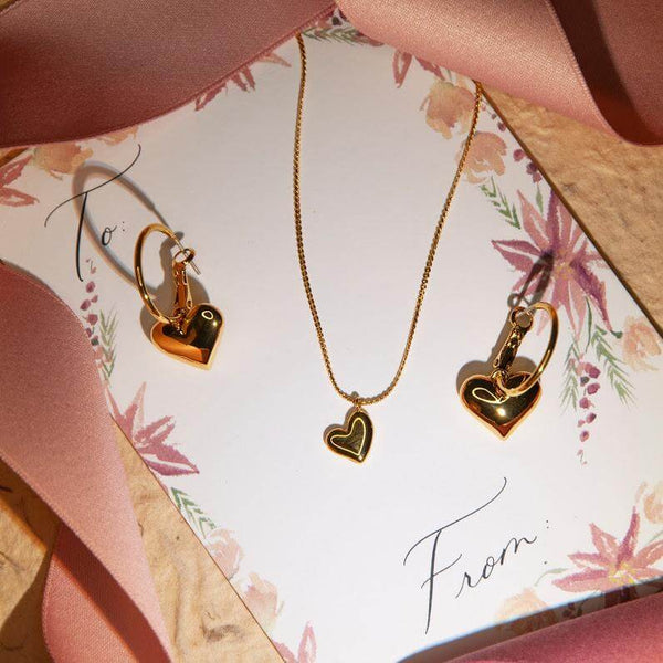 necklace Gold Heart Hoop Earrings and Heart Pendant Necklace Jewelry Gift Set Golden Heart Jewelry Set Moi Accessories
