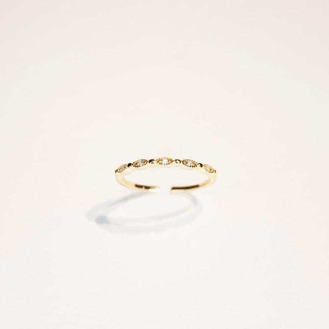 Rings Gold Vermeil Interwoven Adjustable CZ Stones Ring INTERWOVEN RING - GOLD VERMEIL Moi Accessories
