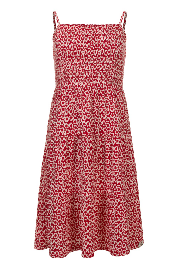 Meisjes Little woven long dress van Little Looxs in de kleur Floral Ao in maat 128.