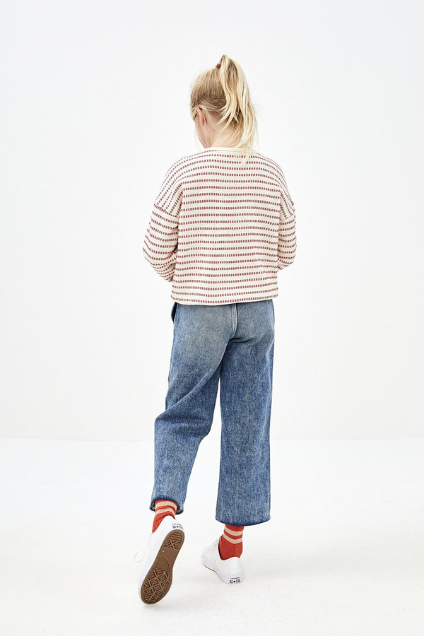 Meisjes Girls Becky Stripe Sweater van By-Bar in de kleur Salsa in maat 128.