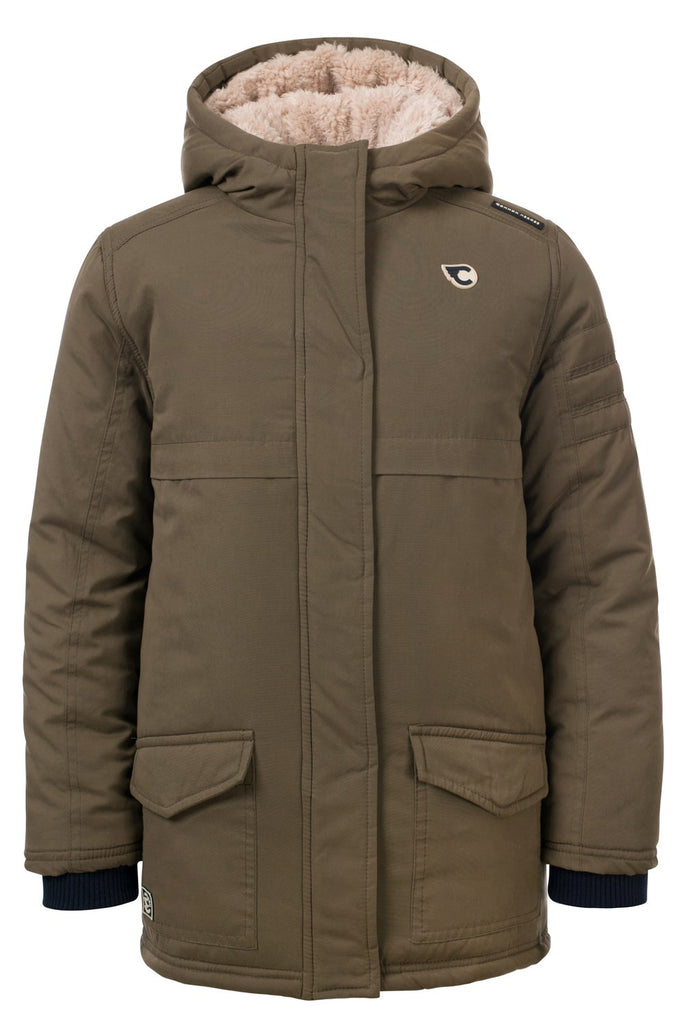 Jongens JIM outerwear parka van Common Heroes in de kleur Khaki in maat 146, 152.