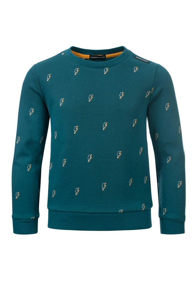 Jongens CAS crewneck interlock sweat van Common Heroes in de kleur Petrol in maat 146, 152.