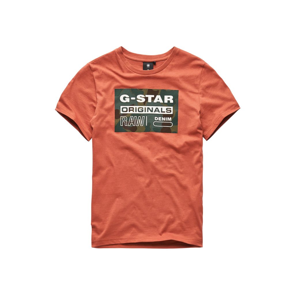 Jongens Tee Shirt van G-Star Raw in de kleur Tea Pum in maat 128.