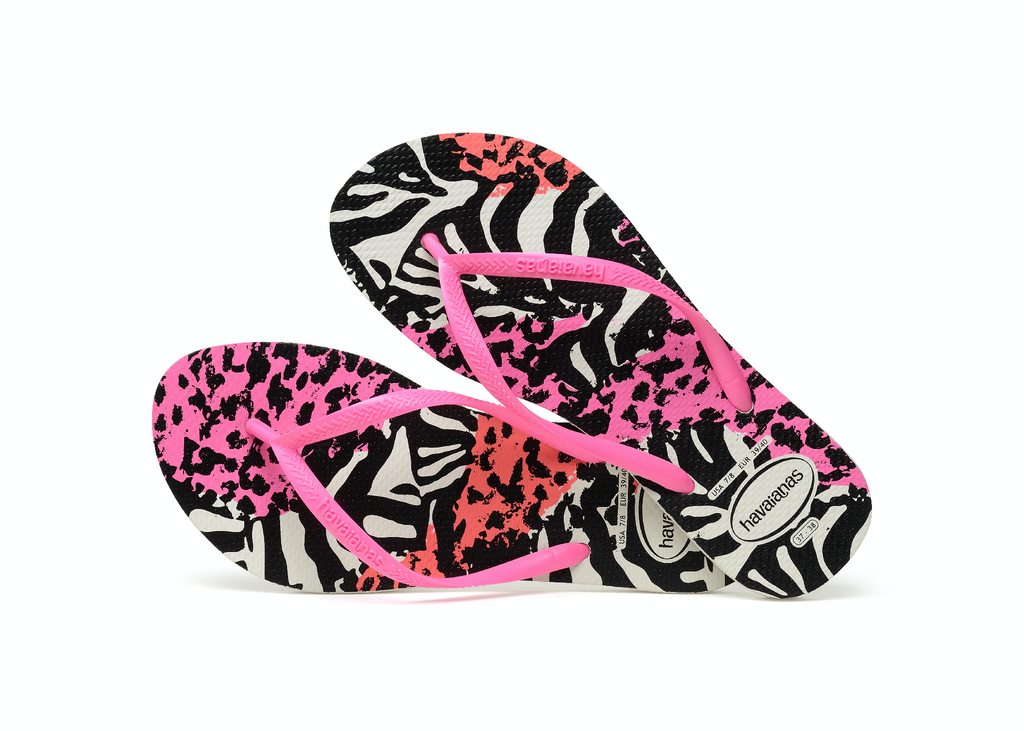 Havaianas Slim Animals White/Shocking Pink/Shocking Pink