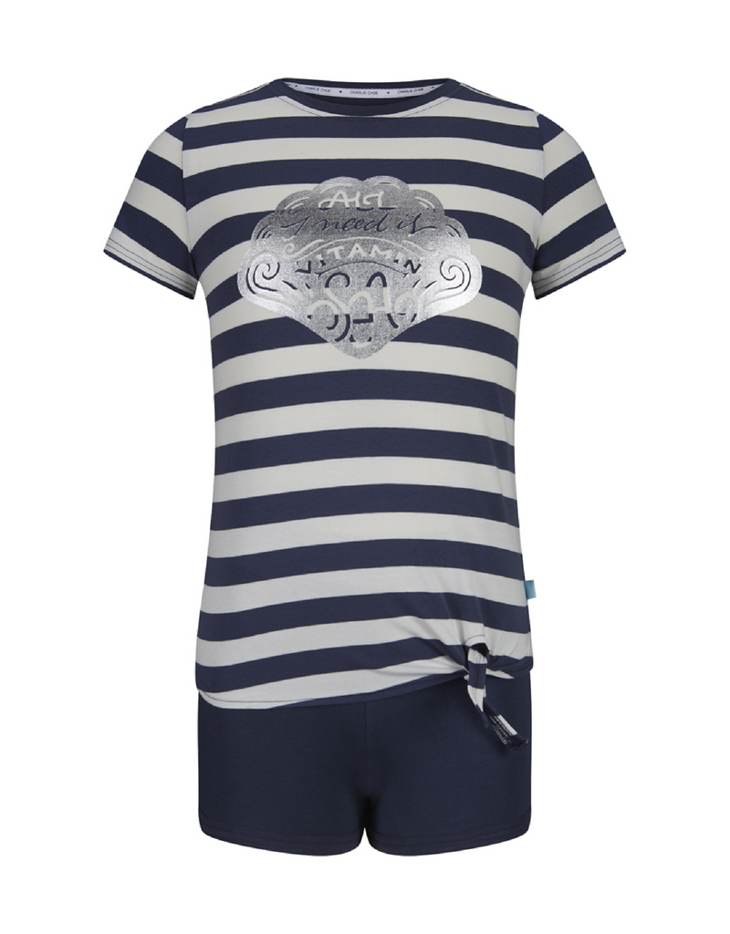 Meisjes Girls short set with knot front shirt van Charlie Choe in de kleur Navy & off white & stripe in maat 170, 176.