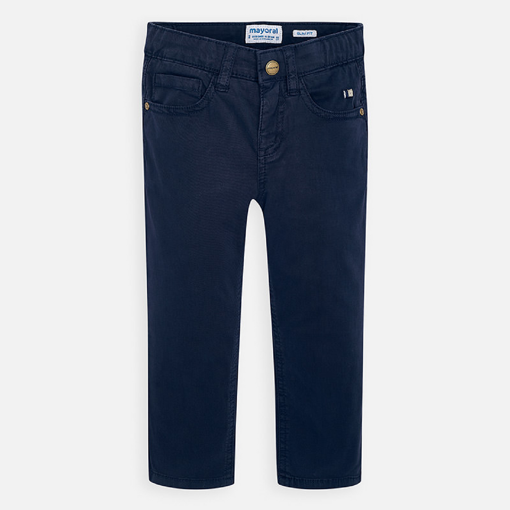 Jongens Basic slim fit serge pants van Mayoral in de kleur Navy       in maat 128.