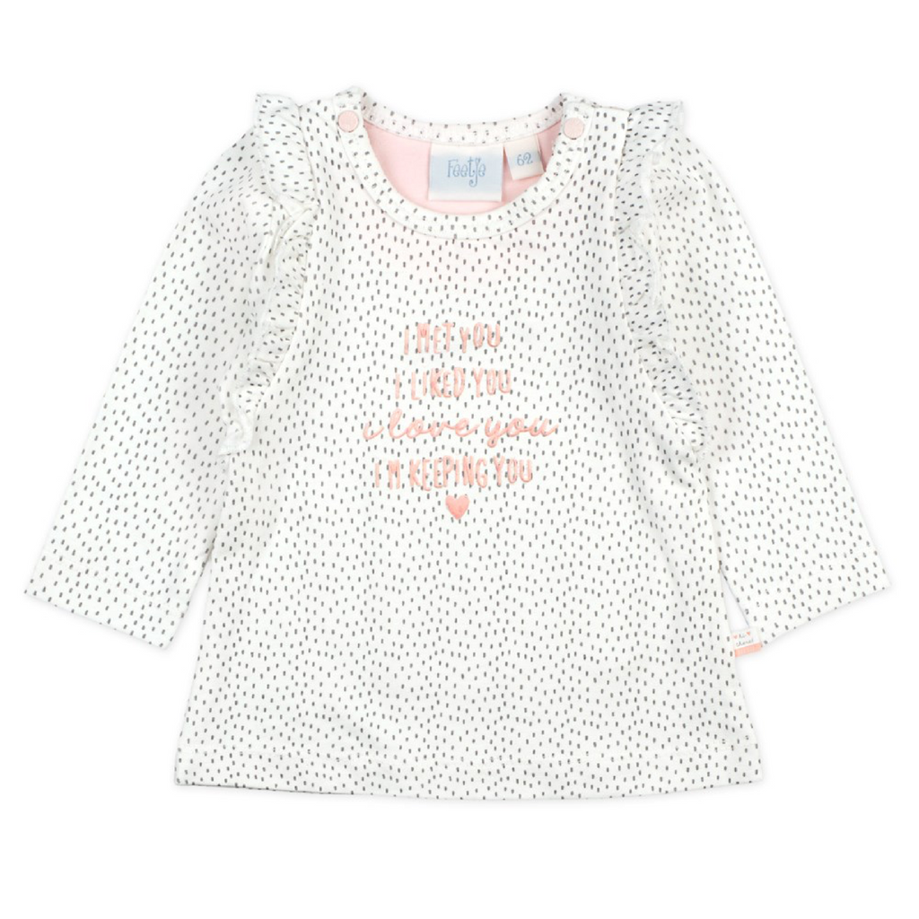 Meisjes Longsleeve ruches - We Are Family Girls van Feetje in de kleur Offwhite in maat 62.