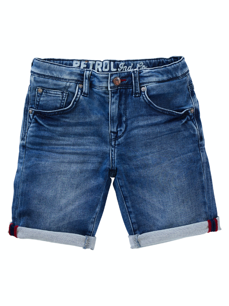 Jongens Jeansshort jogg dark denim van Petrol Ind. in de kleur Light Used in maat 176.