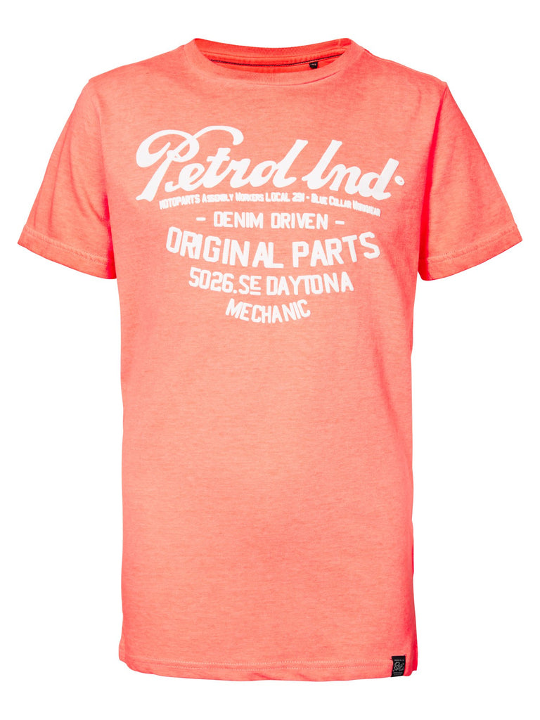 Jongens T-shirt original van Petrol Industries in de kleur Fiery Coral in maat 176.