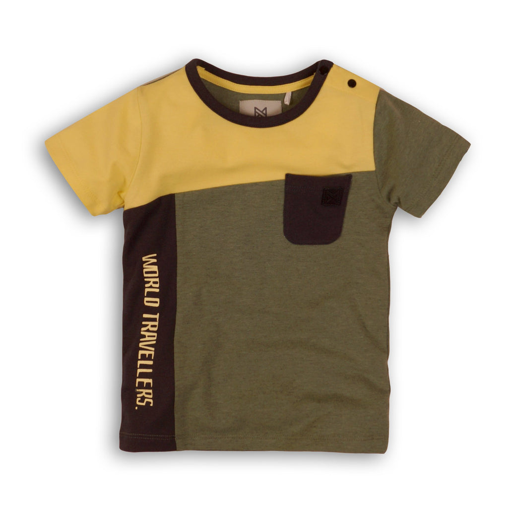 Baby Jongens Baby t-shirt van Koko Noko  in de kleur Army melee + yellow + dark grey in maat 86.