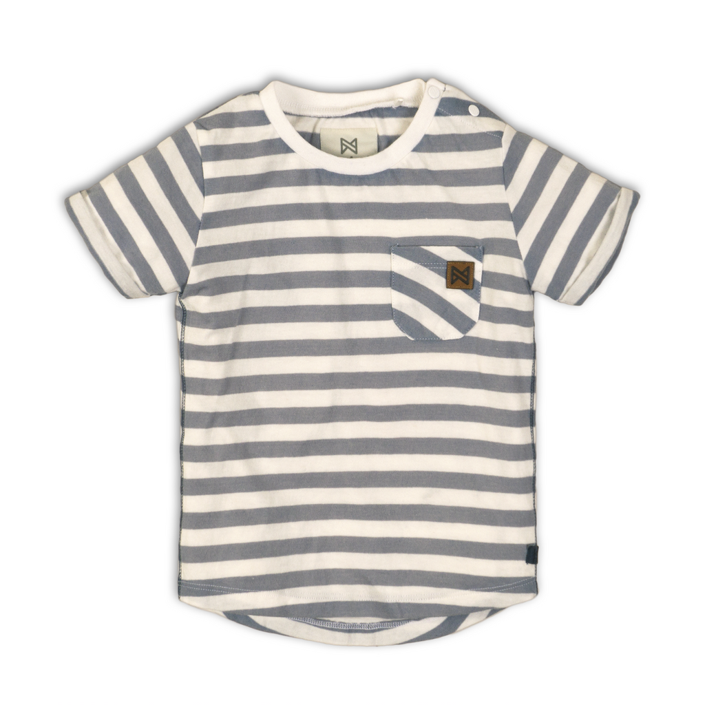 Baby Jongens Baby t-shirt van Koko Noko  in de kleur Stripes + light blue + white in maat 86.