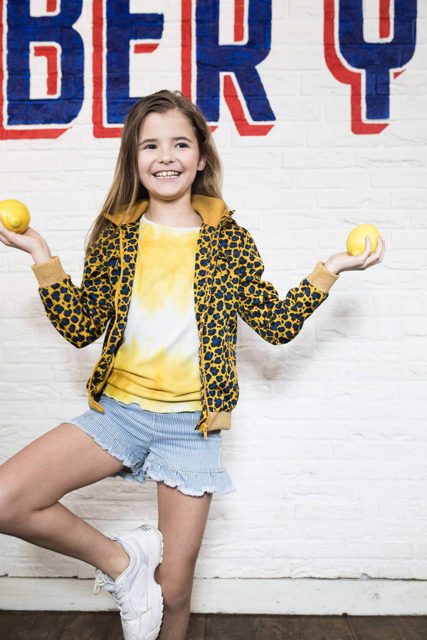 Meisjes Flo girls hooded summer jacket van Flo in de kleur Oker in maat 116.