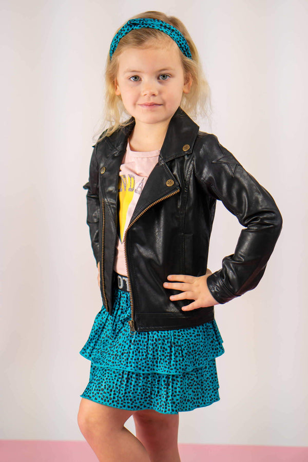 Meisjes Flo girls AO shiny jersey plisse skirt 2 layer van Flo in de kleur Turquoise in maat 140.