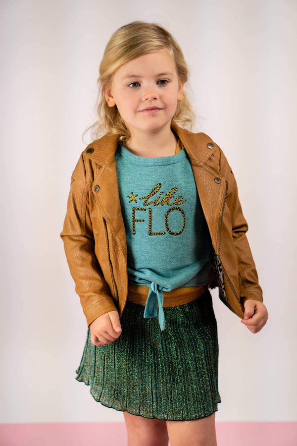 Meisjes Flo girls 2pc lurex plisse dress with sweat melee top van Flo in de kleur Ocean in maat 140.