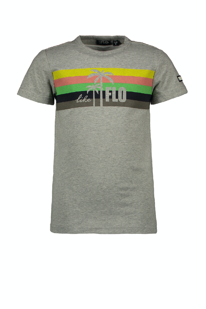 Jongens Flo boys grey melee tee with rainbow van Flo in de kleur Grey melee in maat 152.