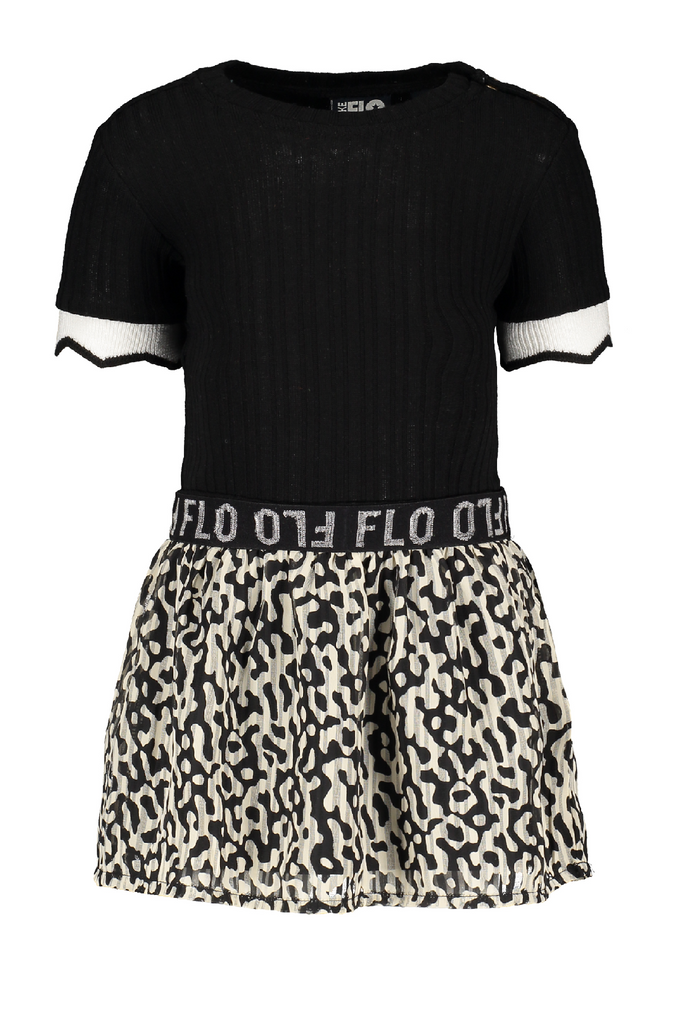 Meisjes Flo baby girls ss rib dress with fancy plisse skirt van Flo in de kleur Graphic in maat 92.