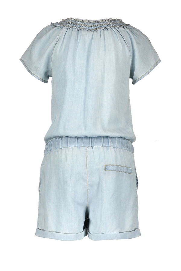 Meisjes Flo girls light denim playsuit van Flo in de kleur lt denim in maat 152.