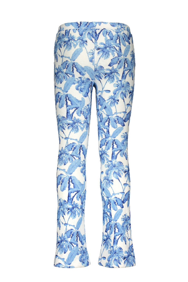 Meisjes Flo girls crepe AO palmtree flared pants van Flo in de kleur Blue palm in maat 152.