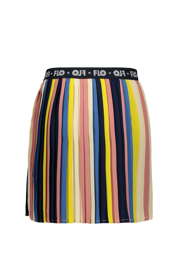 Meisjes Flo girls multi stripe plisse skirt van Flo in de kleur Multi in maat 152.