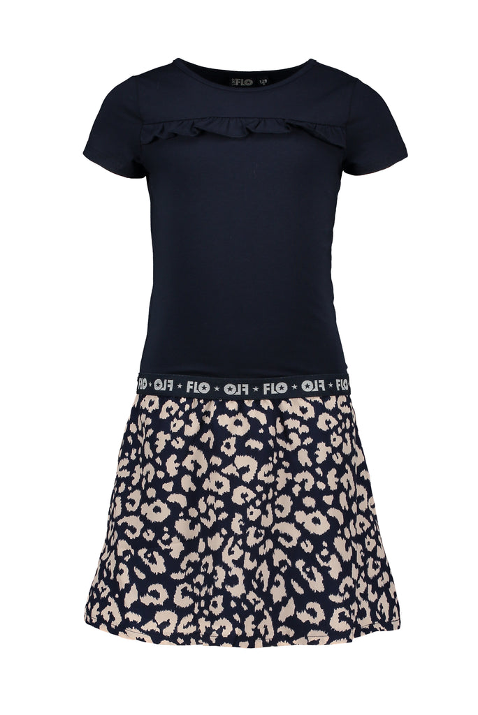 Flo Flo girls navy dress with AO indigo animal skirt