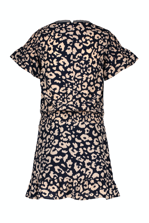 Meisjes Flo girls batik animal ruffle dress van Flo in de kleur Indigo in maat 152.
