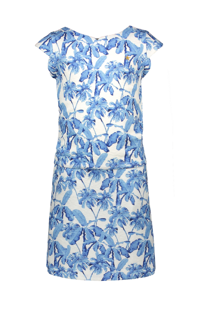 Meisjes Flo girls crepe AO palmtree dress van Flo in de kleur Blue palm in maat 152.