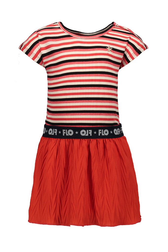 Meisjes Flo baby girls YD rib dress with fancy skirt van Flo in de kleur Zigzag in maat 92.