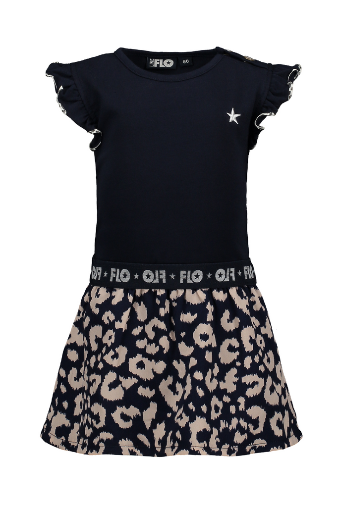 Meisjes Flo baby girls ruffle jersey dress with ikat skirt van Flo in de kleur Navy in maat 92.