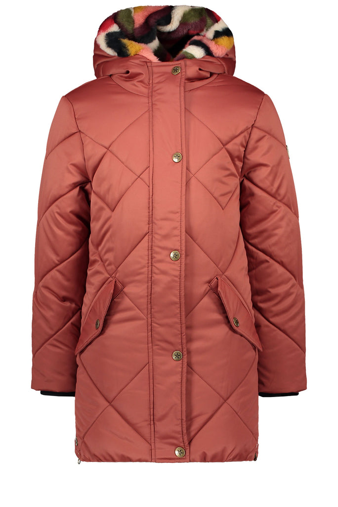 Meisjes Flo girls long hooded jacket, check quilting van Flo in de kleur Rust in maat 152.
