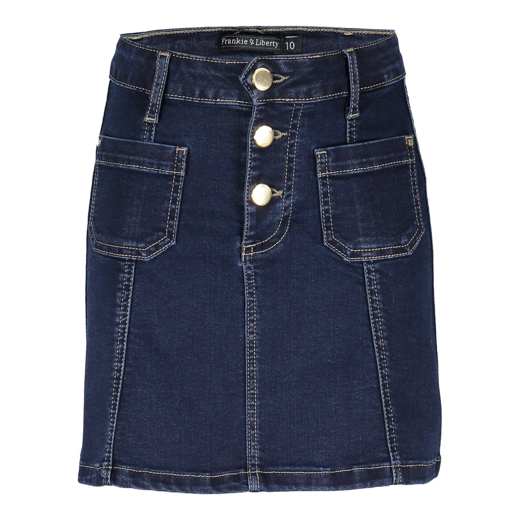 Meisjes Polly Skirt van Frankie & Liberty in de kleur Dark Denim in maat 176.