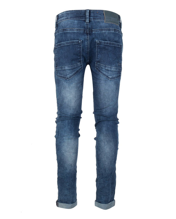 Jongens BLUE ANDY FLEX SKINNY FIT NOOS van Indian Blue Jeans in de kleur Dark Denim in maat 176.