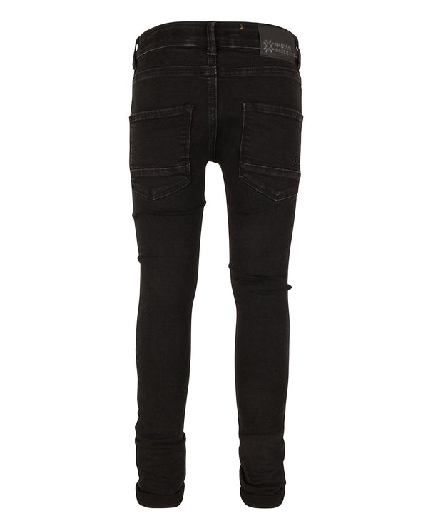 Jongens BLACK ANDY FLEX SKINNY FIT van Indian Blue Jeans in de kleur Used Black Denim in maat 176.