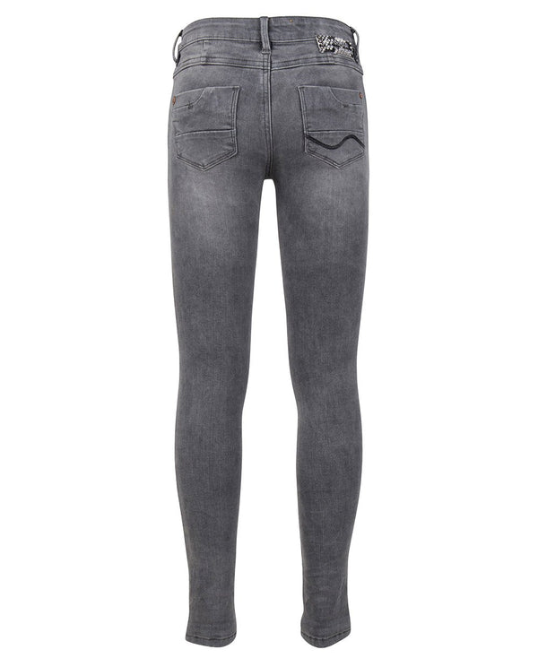 Meisjes GREY JAZZ SUPER SKINNY FIT van Indian Blue Jeans in de kleur Grey Denim in maat 176.