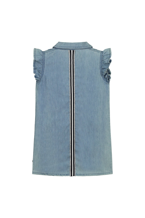 Meisjes Dress van Little Levv in de kleur Blue Chambray in maat 116.