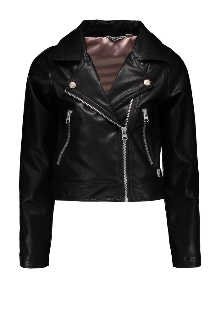 Meisjes Fake Leather Jacket van Moodstreet in de kleur Black in maat 110/116.