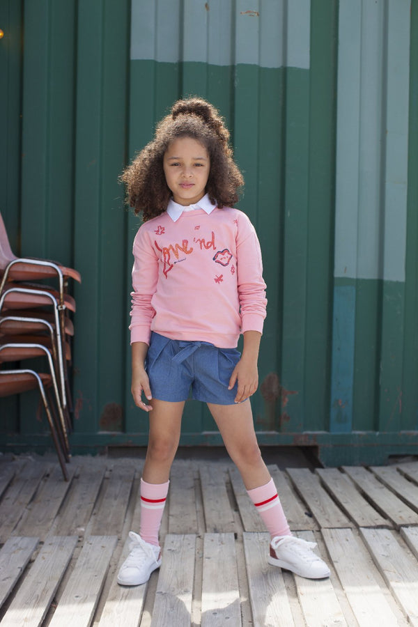 Meisjes Sweater With Chest Aw van Moodstreet in de kleur Light pink in maat 86/92.