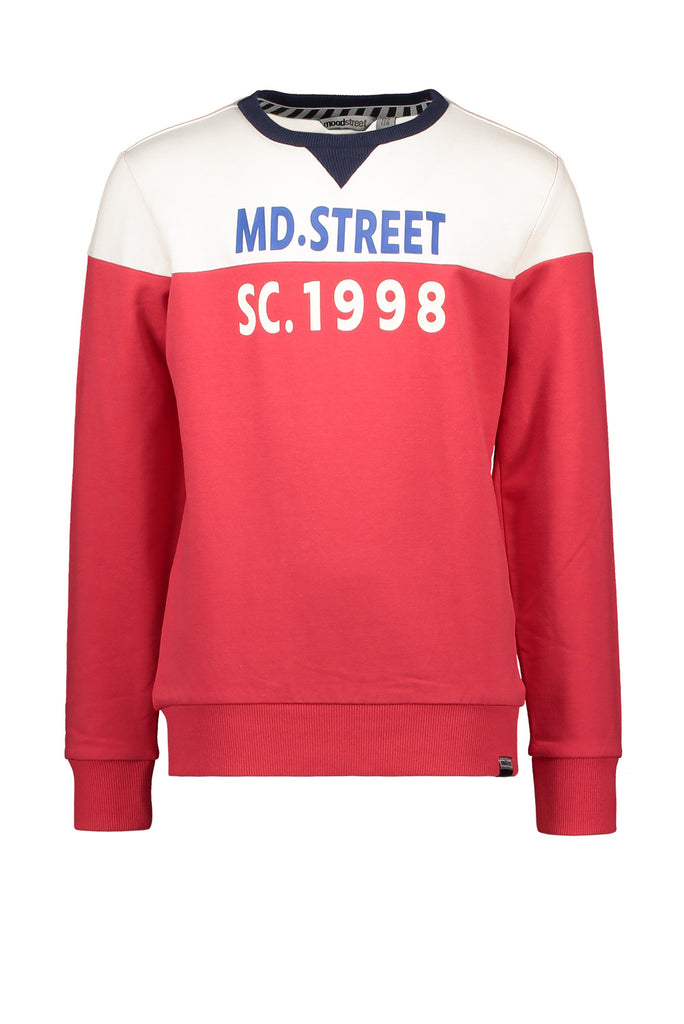 Jongens Sweater Cut&Sewn van Moodstreet in de kleur Red in maat 122/128.