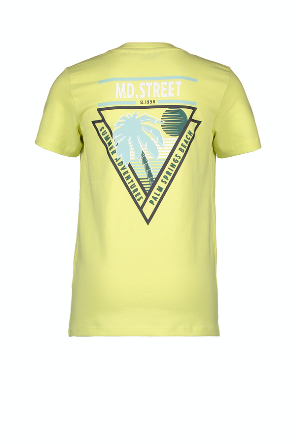 Jongens MT t-shirt chest&back print van Moodstreet in de kleur lime in maat 122, 128.