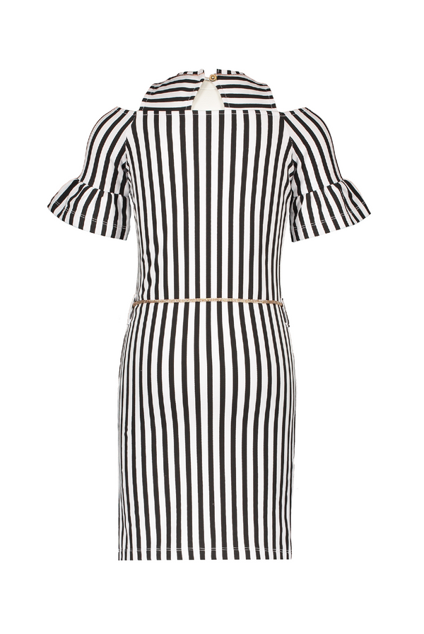 Meisjes Minol Striped cold shldr dress with clock sleeves van NoNo in de kleur Nearly Black in maat 146, 152.