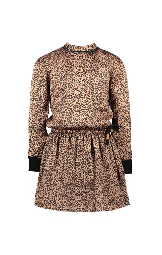 NoNo Minne animal AOP on satin dress with crochet detail at neck+jersey sleeve cuffs