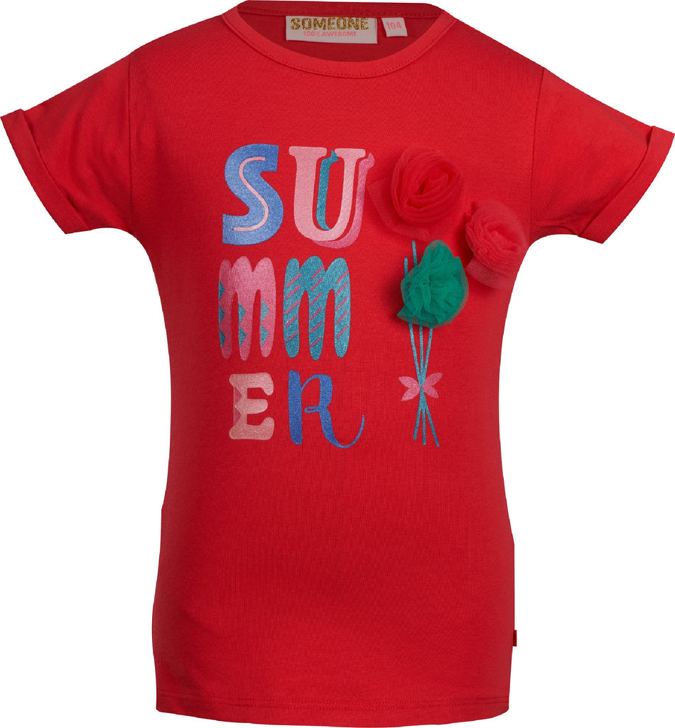 Meisjes T-shirt Summer flower van Someone in de kleur Cherry in maat 140.