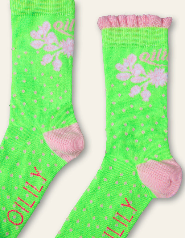 Oilily Macarena ankle socks 79 lime with dots and leaves Oilily