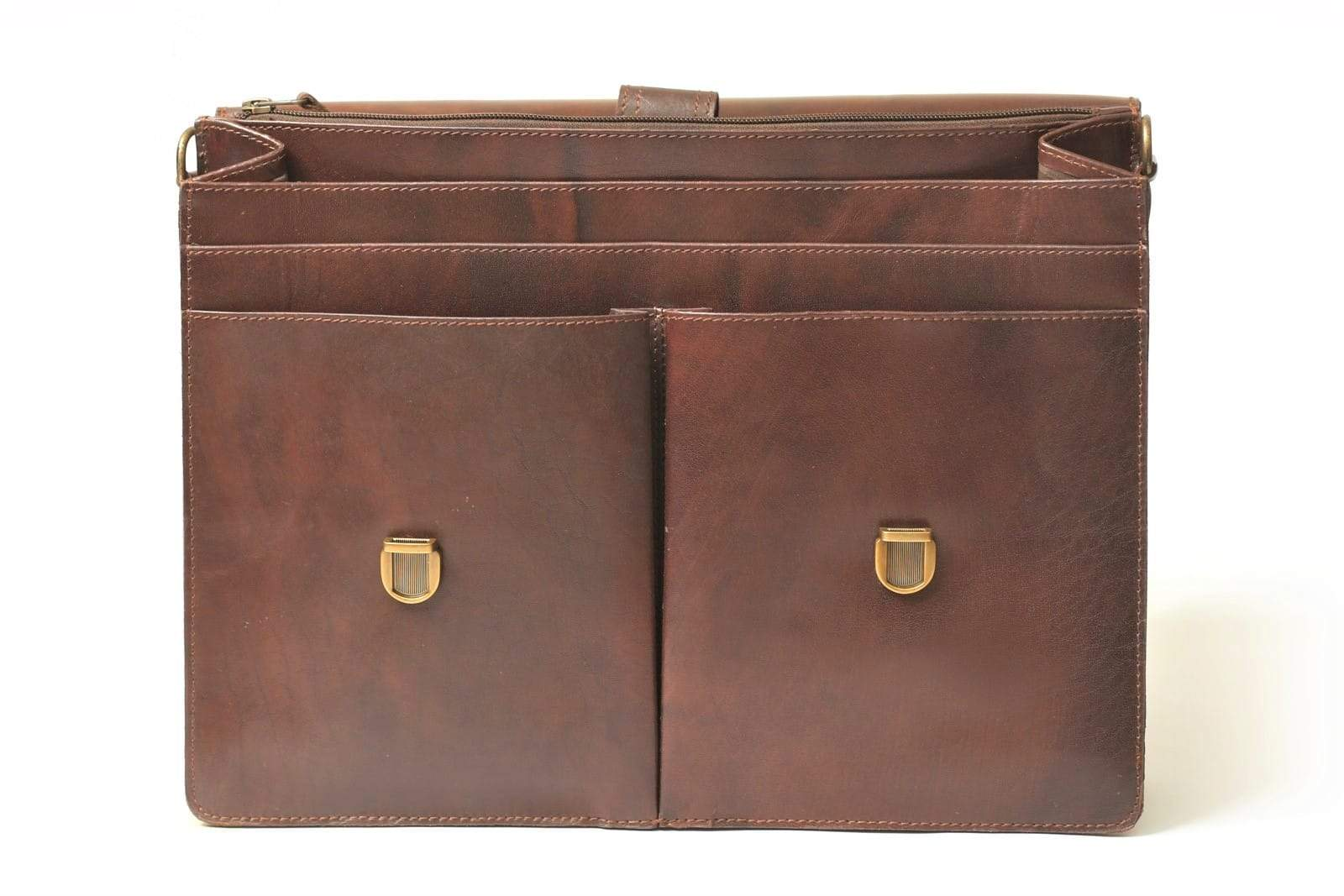 leather briefcase with file compartments