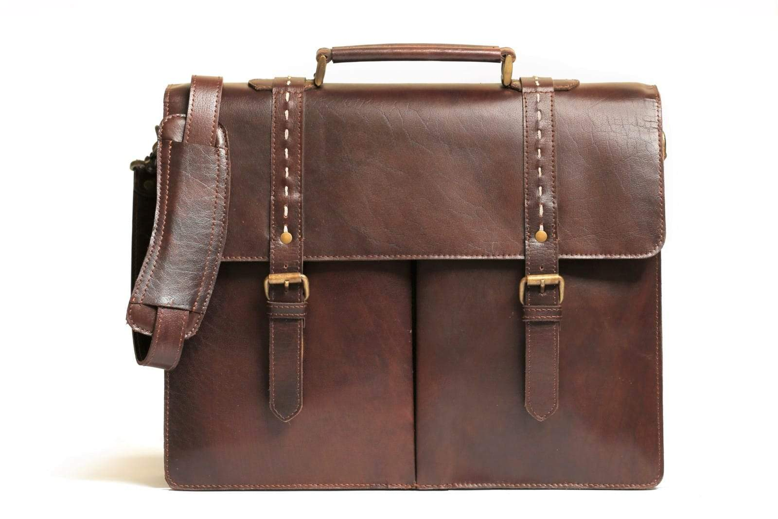 handmade leather briefcase bag