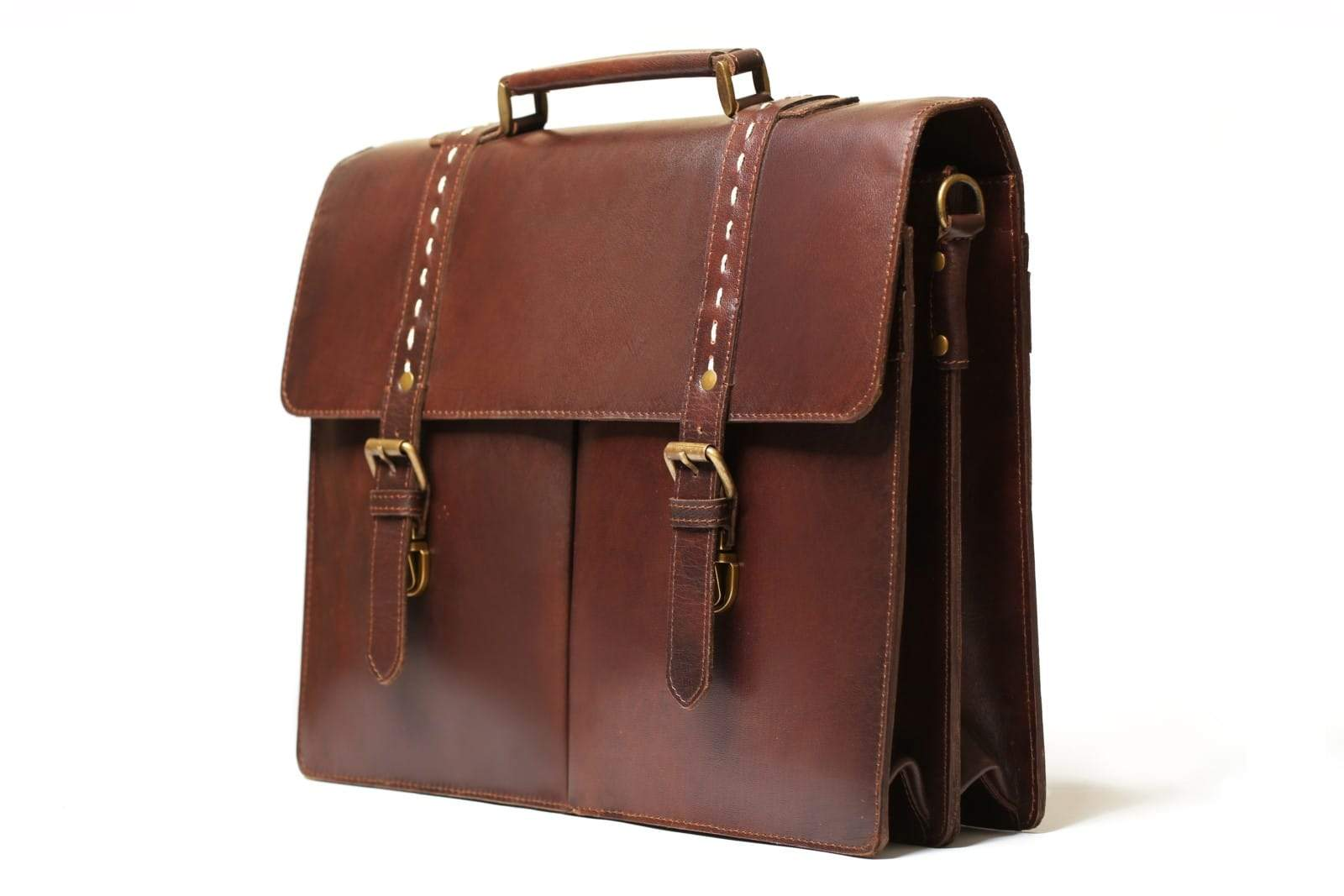 leather hand carrier briefcase bag antique brown